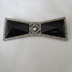 Black jet and marcasite bow tie brooch